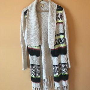Knee Length Knit Pattern Cardigan Fringe Boho